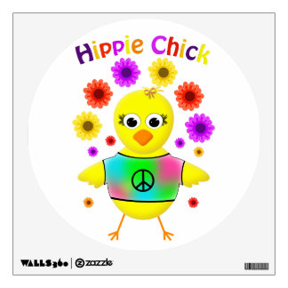 Hippie Chick Humorous Cartoon Chicken Wall Decal