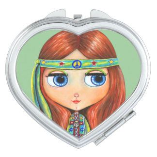 Hippie Chick in Green with Headband Big Eyes Compact Mirror