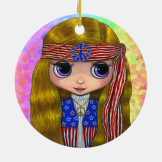Hippie Chick in Stars and Stripes Peace Sign Cute Ceramic Ornament