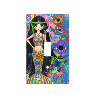Hippie Chick Mermaid Girl Headband Peace Sign Cute Light Switch Cover