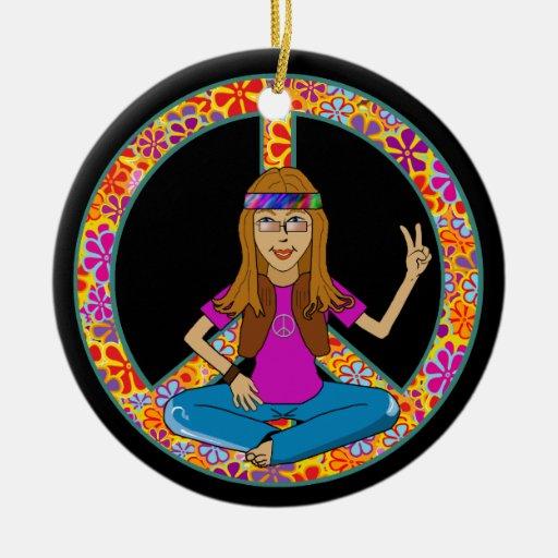 Hippie chick peace sign ornament zazzle