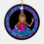 Hippie chick Peace Sign Ornament