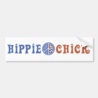 Hippie Chick with Peace Sign Bumper Sticker