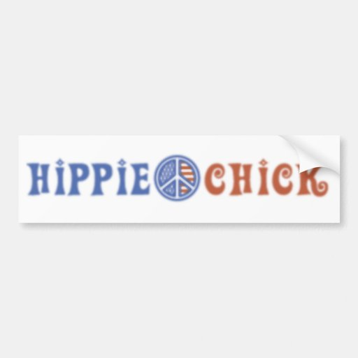 Hippie Chick with Peace Sign Bumper Stickers