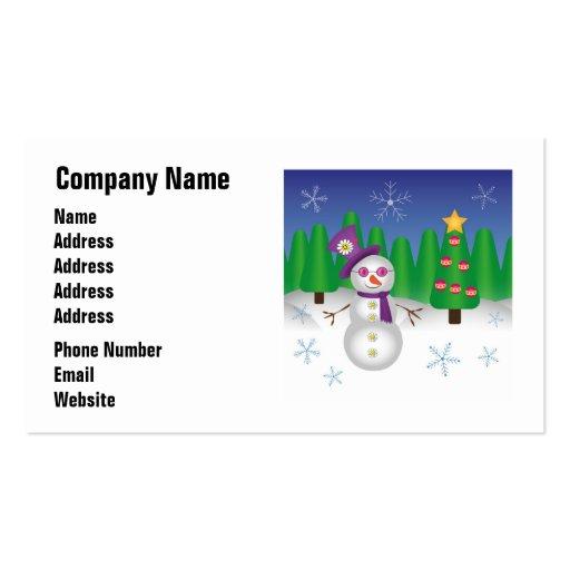 Hippie Christmas Snowman Business Cards