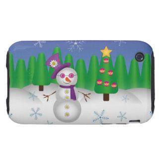 Hippie Christmas Snowman iPhone 3 Tough Case