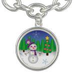 Hippie Christmas Snowman Charm Bracelet