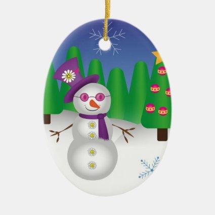 Hippie Christmas Snowman Christmas Ornaments