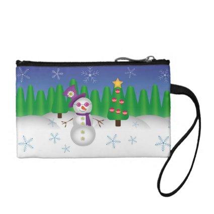 Hippie Christmas Snowman Coin Wallet