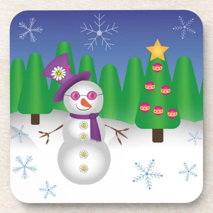 Hippie Christmas Snowman Drink Coaster