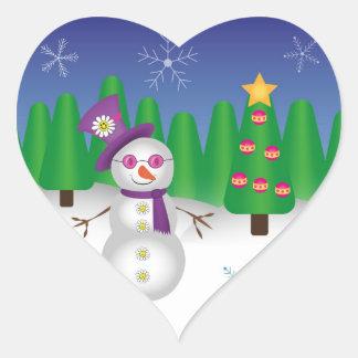 Hippie Christmas Snowman Heart Sticker