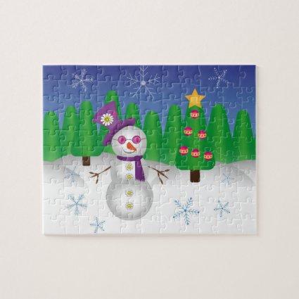 Hippie Christmas Snowman Jigsaw Puzzles