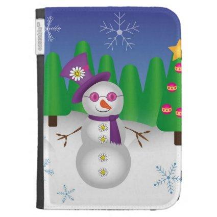 Hippie Christmas Snowman Kindle Cases