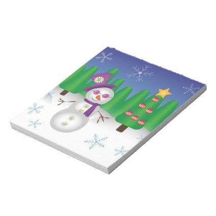 Hippie Christmas Snowman Memo Pad
