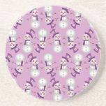 Hippie Christmas Snowman Pattern Beverage Coaster