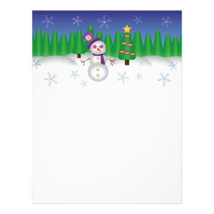 Hippie Christmas Snowman Personalized Letterhead