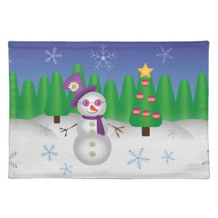 Hippie Christmas Snowman Placemats