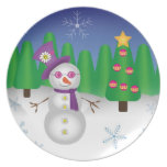 Hippie Christmas Snowman Plate