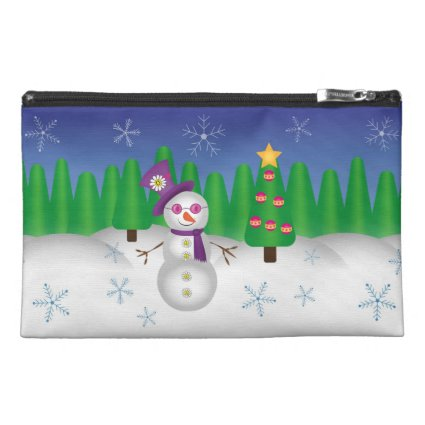 Hippie Christmas Snowman Travel Accessory Bag