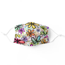 Hippie Colorful Doodle Flower Girly  Adult Cloth Face Mask