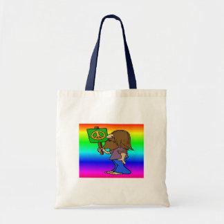 Hippie con el signo de la paz bolsa tela barata