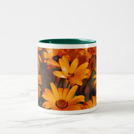 Hippie daisy flower symbolism Two-Tone coffee mug