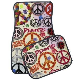 Hippie de la paz y del amor del flower power alfombrilla de auto