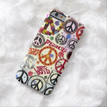 Hippie de la paz y del amor del flower power funda de iPhone 6 barely there