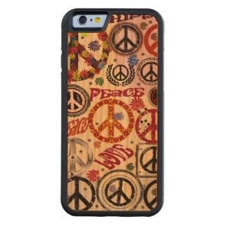 Hippie de la paz y del amor del flower power funda de iPhone 6 bumper cerezo