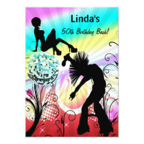 hippie disco retro  party Invitation