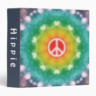 Hippie Dream Peace Sign Rainbow 3 Ring Binder