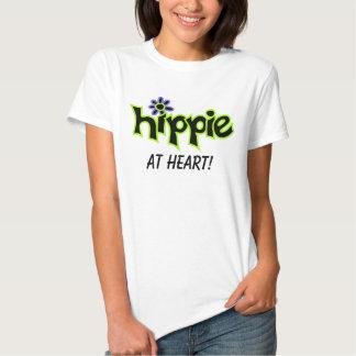 Hippie en decir negro gráfico colorido de la remeras