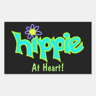 Hippie en el arte de la turquesa del corazón en pegatina rectangular