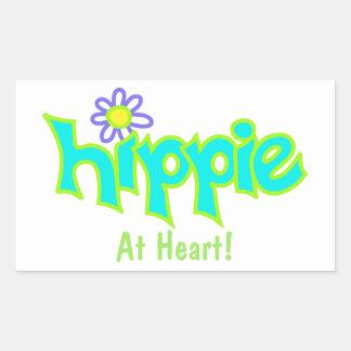 Hippie en el personalizado del arte de la turquesa pegatina rectangular