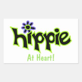 Hippie en el personalizado del arte de la verde pegatina rectangular