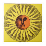 Hippie feliz sonriente Sun del amarillo celestial  Azulejo Ceramica