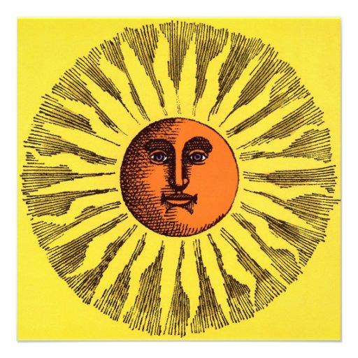 Hippie feliz sonriente Sun del amarillo celestial  Anuncio