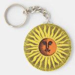 Hippie feliz sonriente Sun del amarillo celestial Llavero Redondo Tipo Pin