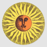 Hippie feliz sonriente Sun del amarillo celestial Etiquetas Redondas