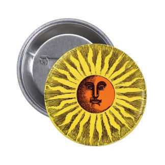 Hippie feliz sonriente Sun del amarillo celestial Pin Redondo 5 Cm