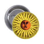 Hippie feliz sonriente Sun del amarillo celestial Pin Redondo De 2 Pulgadas