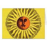Hippie feliz sonriente Sun del amarillo celestial  Felicitaciones