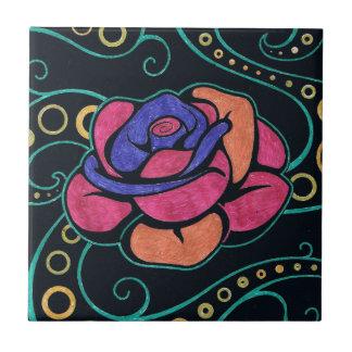 Hippie Flower Ceramic Photo Tile