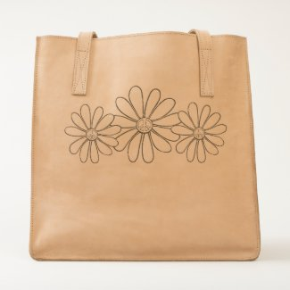 Hippie Flower Leather Bag