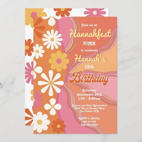 Hippie Flower Power 70s 60s Birthday Party Invitation