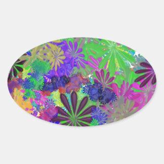 Hippie Flower Power Design Oval Sticker