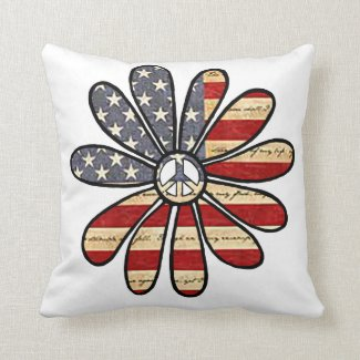 Hippie Flower Power Peace Sign American Flag Throw Pillow