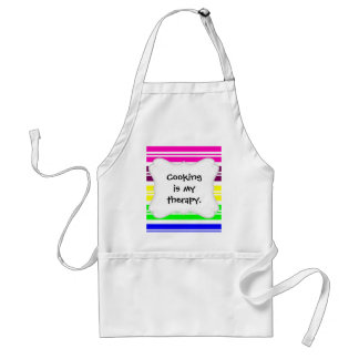 Hippie Flower Power Peace Sign on Rainbow Stripes Adult Apron