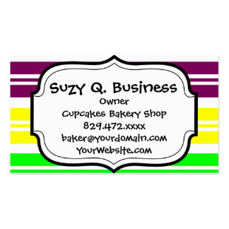 Hippie Flower Power Peace Sign on Rainbow Stripes Business Card