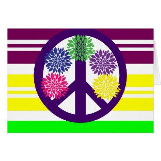Hippie Flower Power Peace Sign on Rainbow Stripes Card